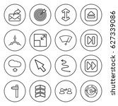 set of 16 arrow outline icons... | Shutterstock .eps vector #627339086
