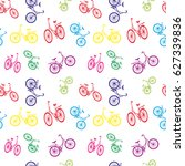 seamless bicycle pattern.... | Shutterstock .eps vector #627339836