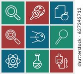 research icons set. set of 9... | Shutterstock .eps vector #627343712