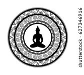 black and white mandala with... | Shutterstock .eps vector #627346916