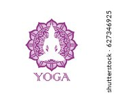 yoga symbol with mandala and... | Shutterstock .eps vector #627346925