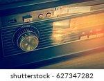 close up of vintage music radio ... | Shutterstock . vector #627347282