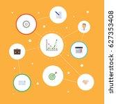 flat calendar  diagram ... | Shutterstock .eps vector #627353408