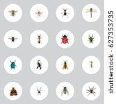 realistic damselfly  emmet  ant ... | Shutterstock .eps vector #627353735