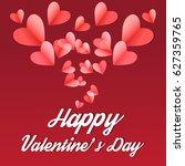 pink paper hearts  on purple... | Shutterstock .eps vector #627359765