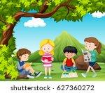 four kids reading books under... | Shutterstock .eps vector #627360272