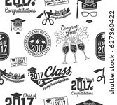 class of 2017 badges seamless... | Shutterstock .eps vector #627360422
