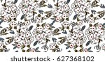 abstract flowers pattern | Shutterstock .eps vector #627368102