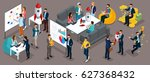 isometric people  entrepreneurs ... | Shutterstock .eps vector #627368432