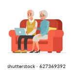 elderly couple sitting on sofa... | Shutterstock .eps vector #627369392