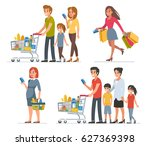 different people shopping in... | Shutterstock .eps vector #627369398
