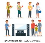 different sales assistants and... | Shutterstock .eps vector #627369488