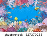 hand drawn underwater natural... | Shutterstock .eps vector #627370235