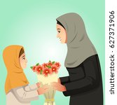 a vector illustration of muslim ... | Shutterstock .eps vector #627371906