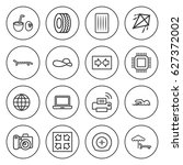 set of 16 simple outline icons... | Shutterstock .eps vector #627372002