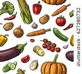 seamless pattern vegetables.... | Shutterstock .eps vector #627380732