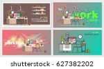 set of office workplace... | Shutterstock .eps vector #627382202