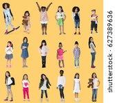 diverse of young girls children ... | Shutterstock . vector #627389636
