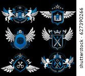 set of vintage emblems created... | Shutterstock . vector #627390266