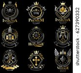set of vintage emblems created... | Shutterstock . vector #627390332