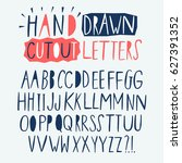 hand drawn creative cutout... | Shutterstock .eps vector #627391352
