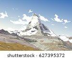 mountain matterhorn. symbol of... | Shutterstock .eps vector #627395372