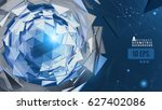 blue abstract triangle sphere... | Shutterstock .eps vector #627402086