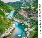 scenic deep canyon with blue... | Shutterstock . vector #627402536