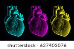 engraving human heart... | Shutterstock .eps vector #627403076
