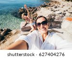 mother with son take vacation... | Shutterstock . vector #627404276