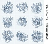 3d abstract isometric... | Shutterstock . vector #627404756