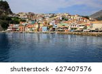 coastal city of parga town... | Shutterstock . vector #627407576