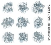 isometric linear abstract... | Shutterstock . vector #627411392
