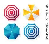 beach sun umbrellas collection. ... | Shutterstock .eps vector #627415136