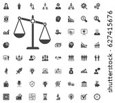 justice scale icon. vector... | Shutterstock .eps vector #627415676