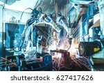 welding robots movement in a... | Shutterstock . vector #627417626