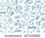 set of hand drawn sport doodle... | Shutterstock .eps vector #627424082