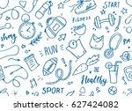 set of hand drawn sport doodle... | Shutterstock .eps vector #627424082
