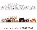 woodland animals border set | Shutterstock .eps vector #627429362