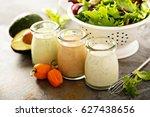 homemade ranch dressing variety ... | Shutterstock . vector #627438656