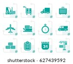 stylized logistics  shipping... | Shutterstock .eps vector #627439592