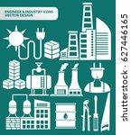 industry icon set clean vector   Shutterstock .eps vector #627446165