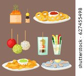 various meat canape snacks... | Shutterstock .eps vector #627455498