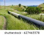 gas pipeline crossing the hills ... | Shutterstock . vector #627465578