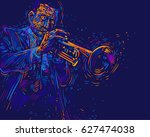 jazz trumpet player. vector... | Shutterstock .eps vector #627474038