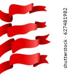 red ribbons sets isolated ... | Shutterstock .eps vector #627481982