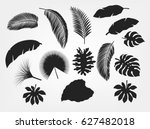 silhouette tropical leaves set... | Shutterstock .eps vector #627482018