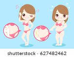 cute cartoon woman with belly... | Shutterstock .eps vector #627482462