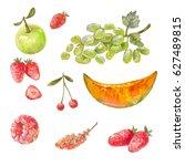 set of different russian fruits ... | Shutterstock . vector #627489815