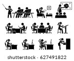 businesswoman working in an... | Shutterstock .eps vector #627491822